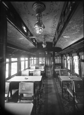 Speisewagen der Compagnie Internationale des Wagon Lit (CIWL), Innenraum, 1899
