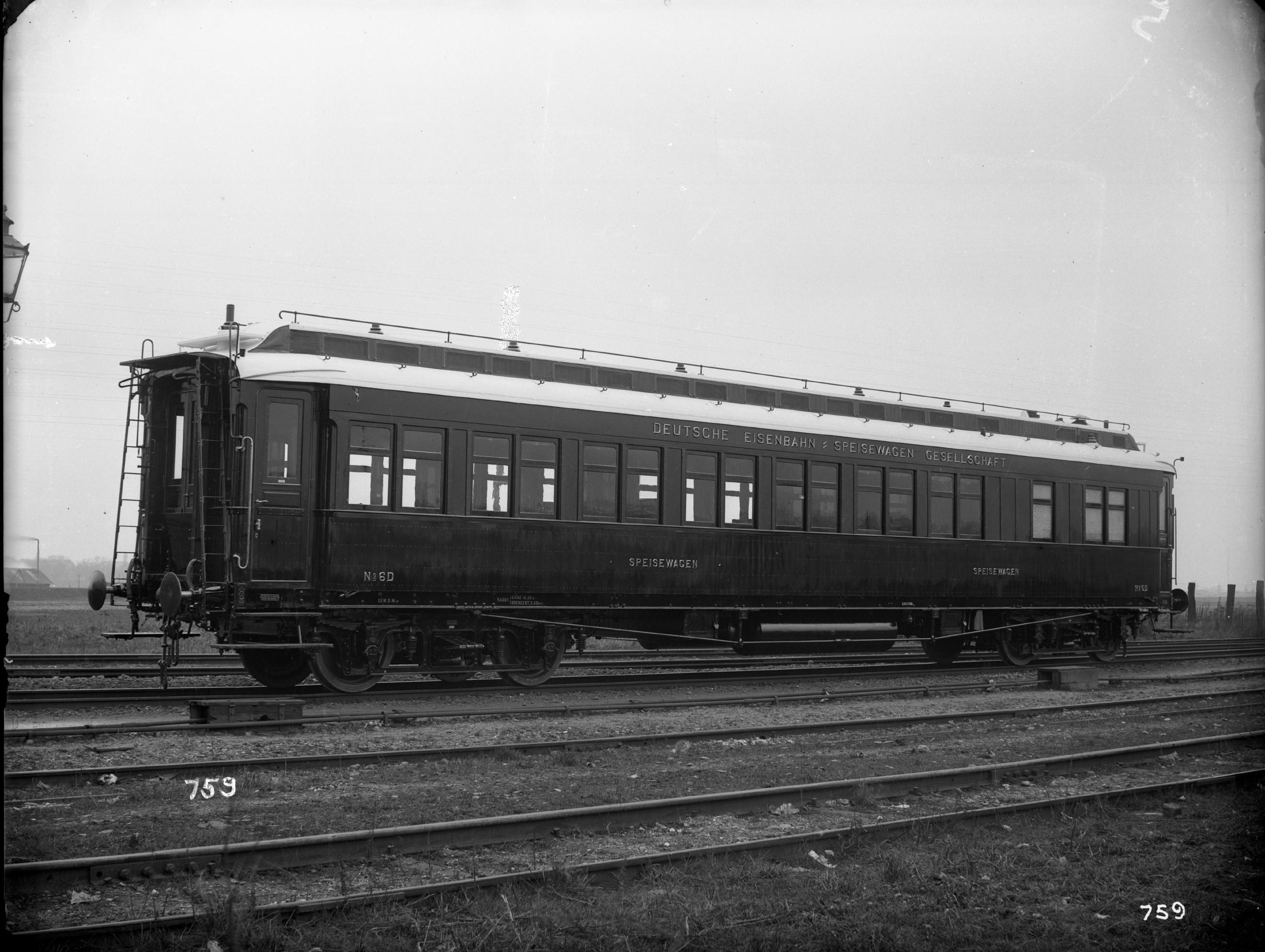 Speisewagen der Deutschen Eisenbahn-Speisewagen Gesellschaft, Nr. 6D, WR4, Teak, 1908